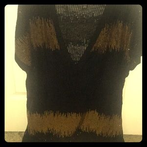 Black and gold iNC Sequin top